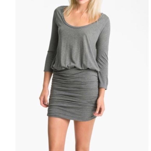 d90697606d Soft Joie Dresses | Gray Ruched Mini Dress Scoop Neck | Poshmark